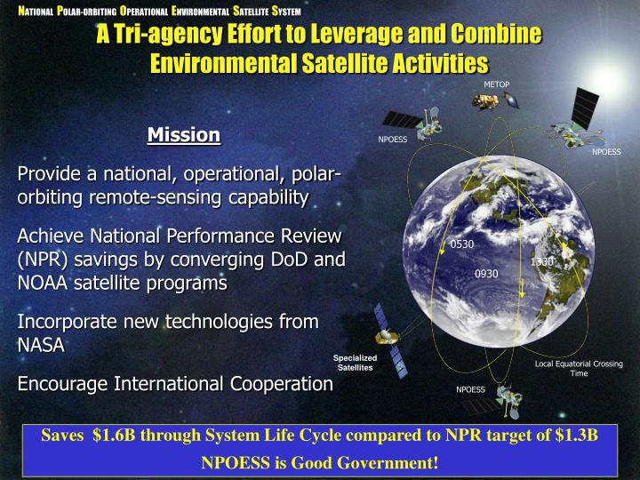 A tri agency effort to leverage and combine environmental satellite activities