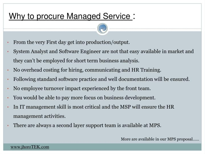 Why to procure Managed Service