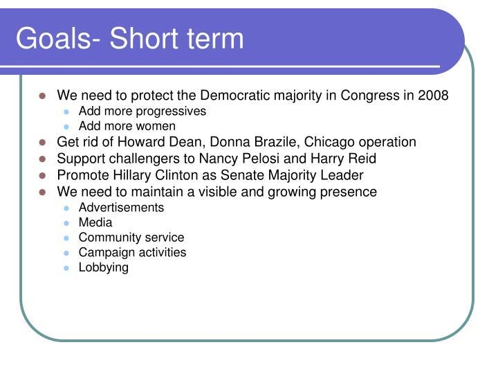 Goals- Short term