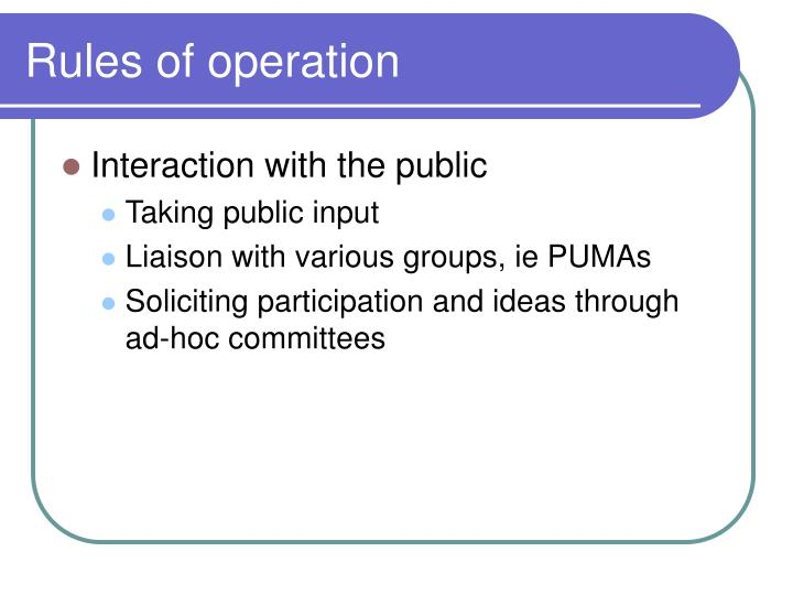Rules of operation