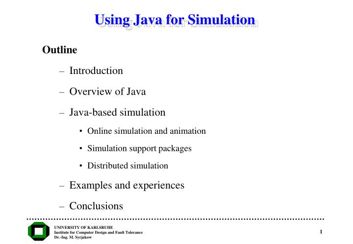 using java for simulation n.
