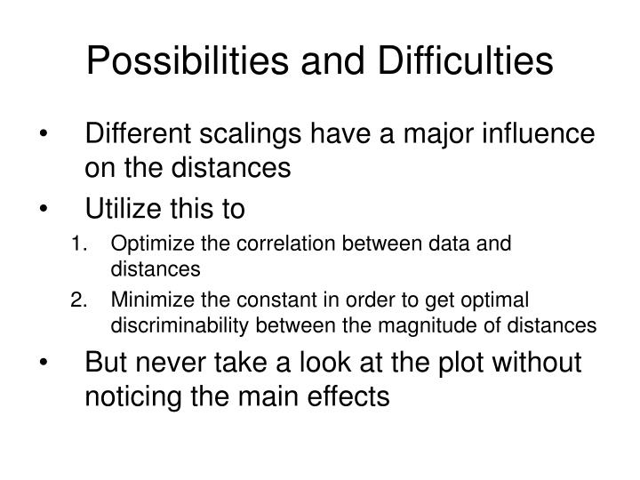 Possibilities and Difficulties