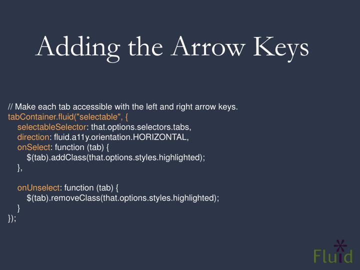 Adding the Arrow Keys