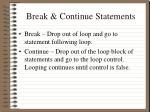 break continue statements