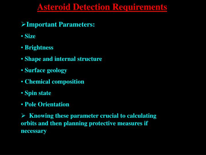 Asteroid Detection Requirements