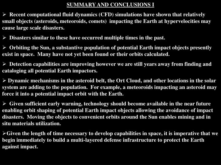 SUMMARY AND CONCLUSIONS I
