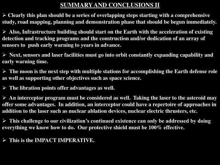 SUMMARY AND CONCLUSIONS II
