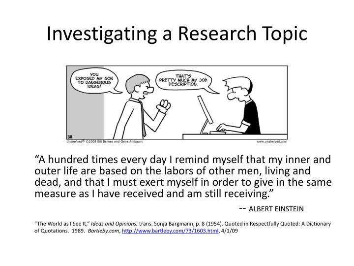 investigating a research topic n.
