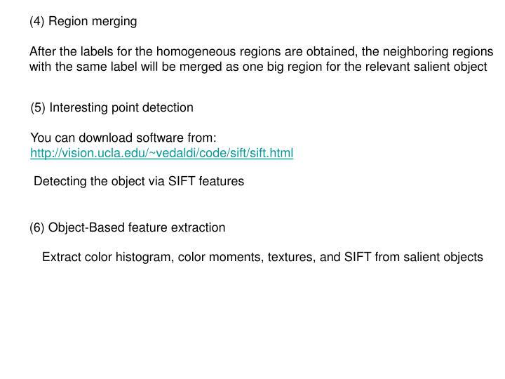 (4) Region merging