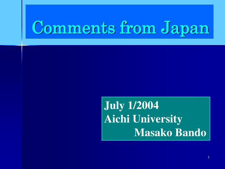 comments from japan n.