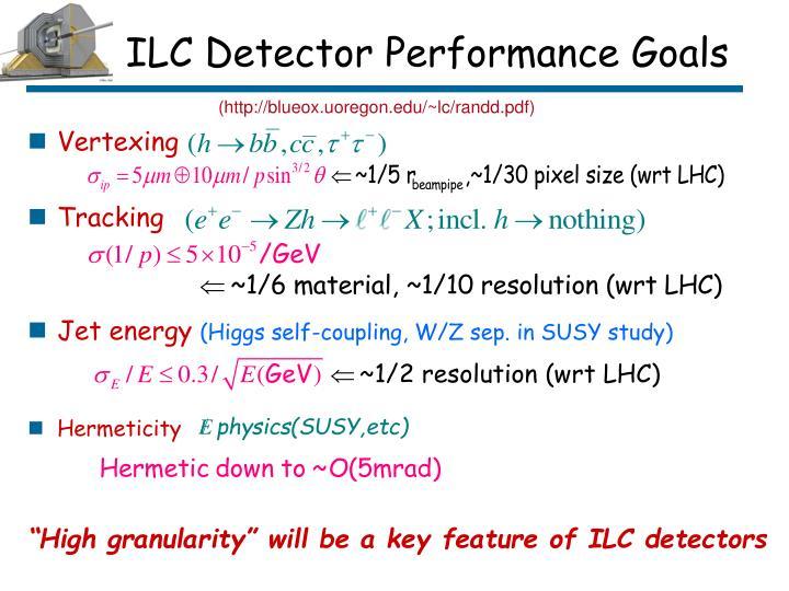ILC Detector Performance Goals