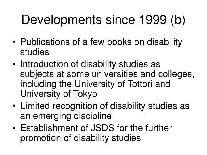 Developments since 1999 (b)