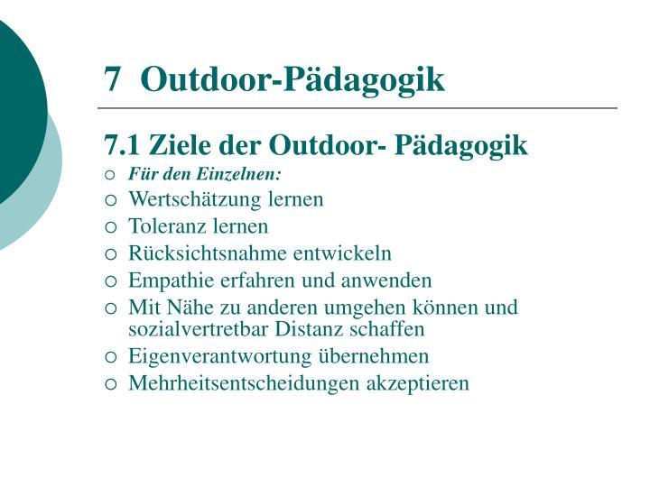 7  Outdoor-Pädagogik