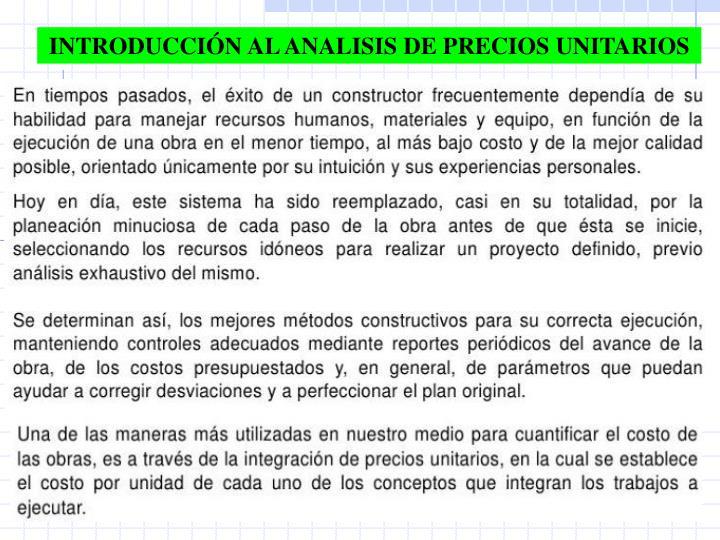 INTRODUCCIÓN AL ANALISIS DE PRECIOS UNITARIOS