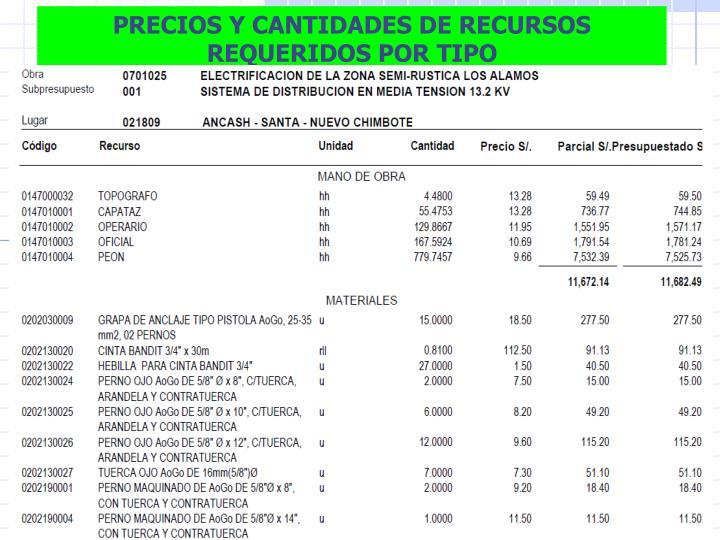 PRECIOS Y CANTIDADES DE RECURSOS REQUERIDOS POR TIPO