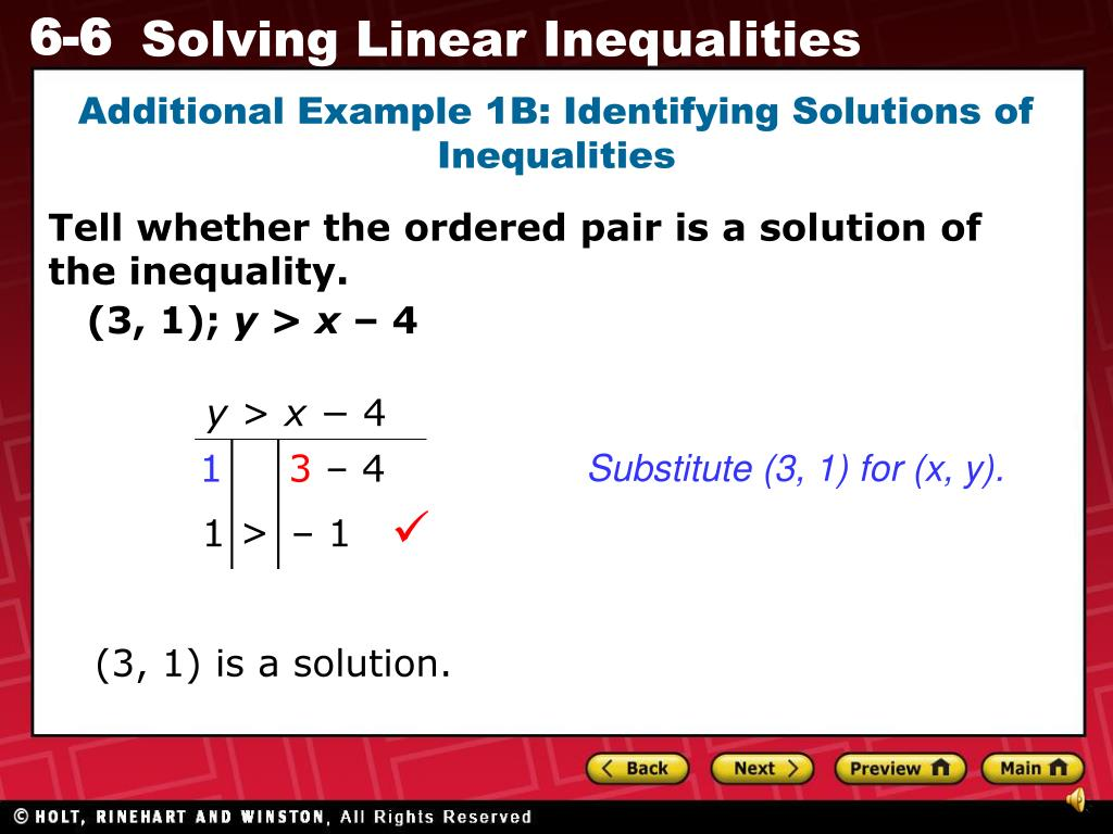 PPT - Tell Whether The Ordered Pair Is A Solution Of The