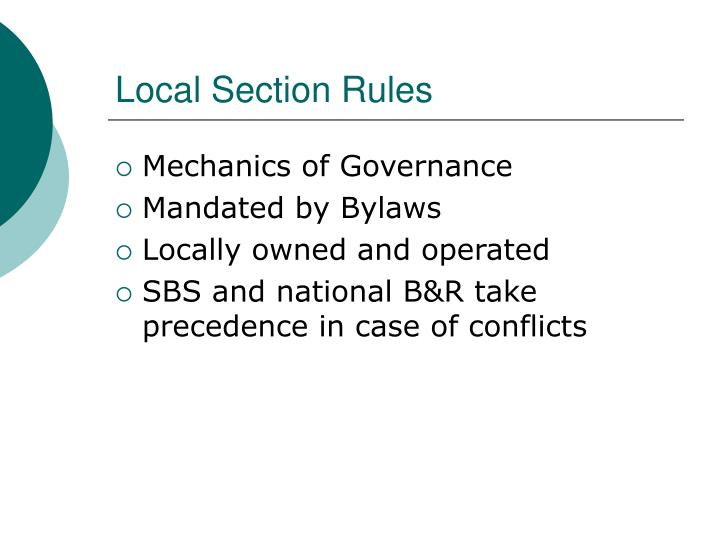 Local Section Rules