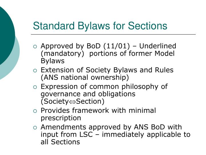 Standard bylaws for sections