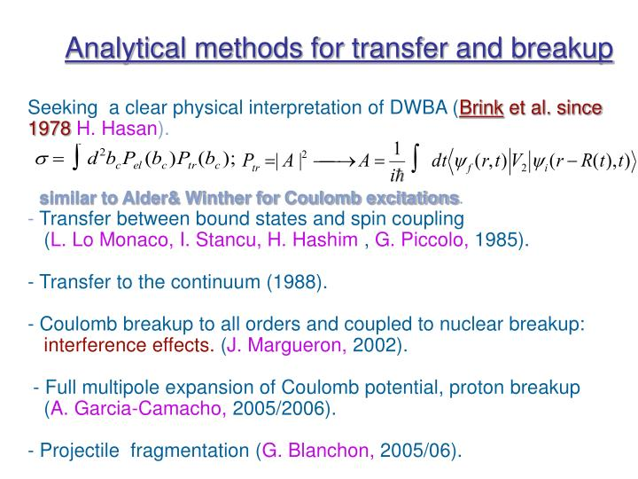 Analytical methods for transfer and breakup