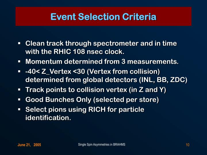Event Selection Criteria
