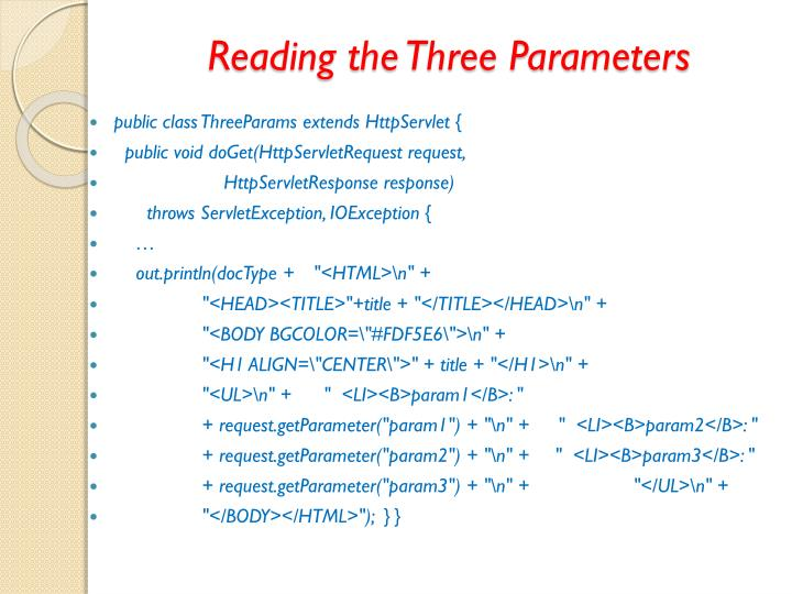 Reading the Three Parameters