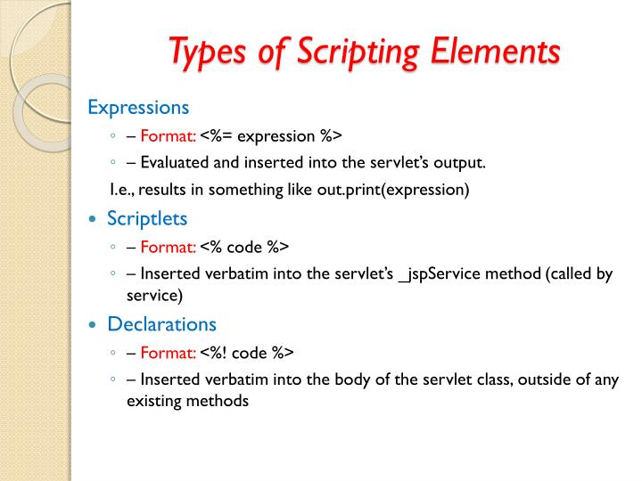 Types of Scripting Elements