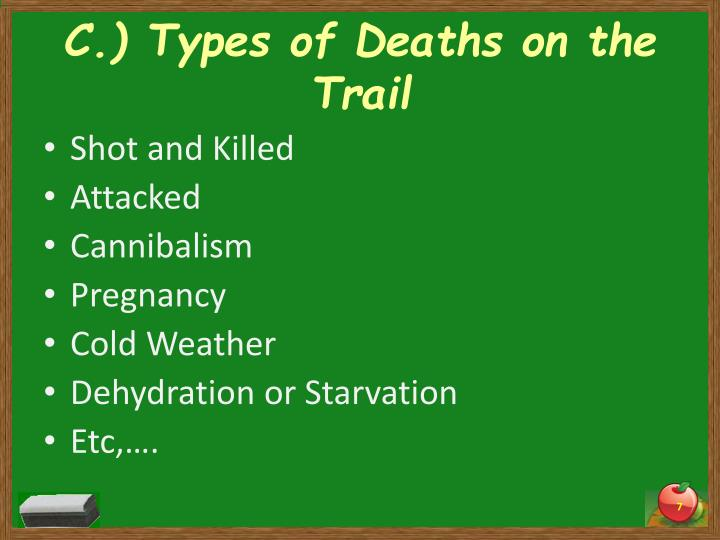 C.) Types of Deaths on the Trail