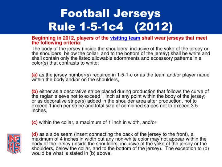 Football jerseys rule 1 5 1c4 2012