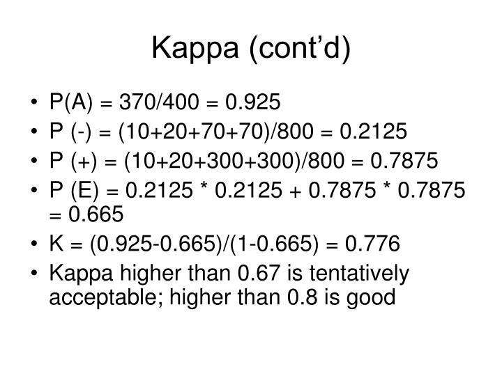 Kappa (cont'd)