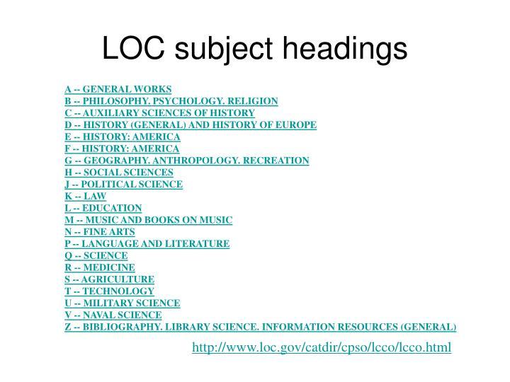LOC subject headings