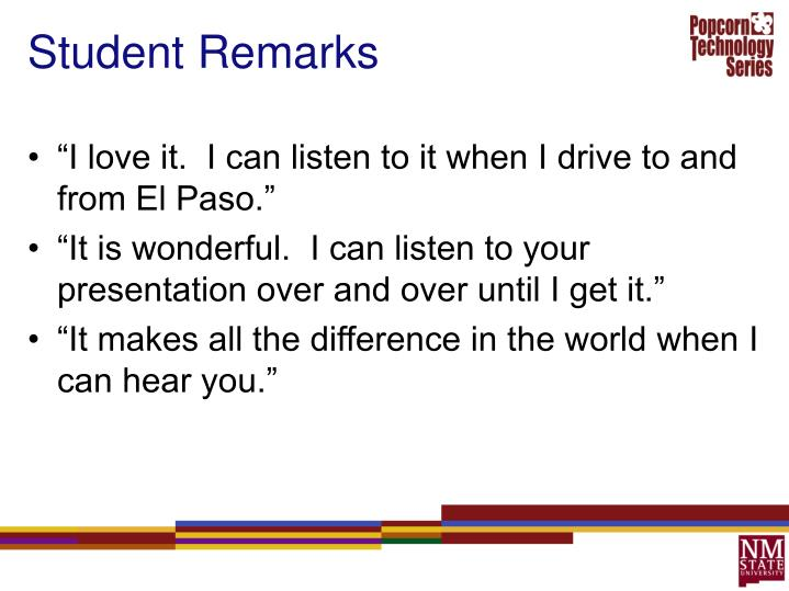 Student Remarks