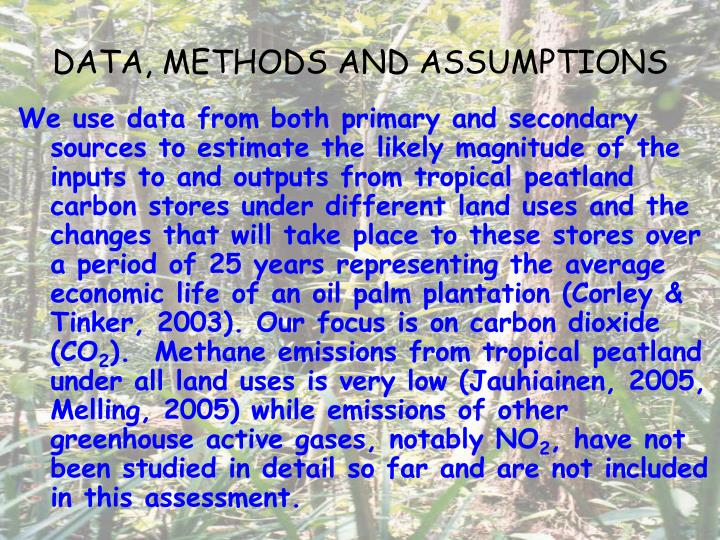 DATA, METHODS AND ASSUMPTIONS