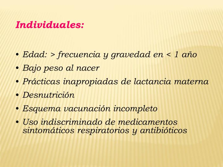 Individuales: