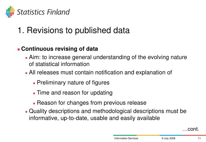 1. Revisions to published data