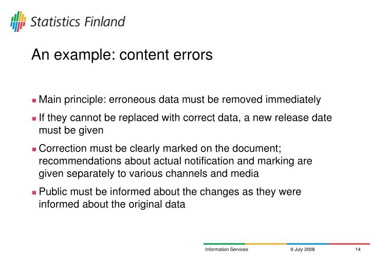 An example: content errors