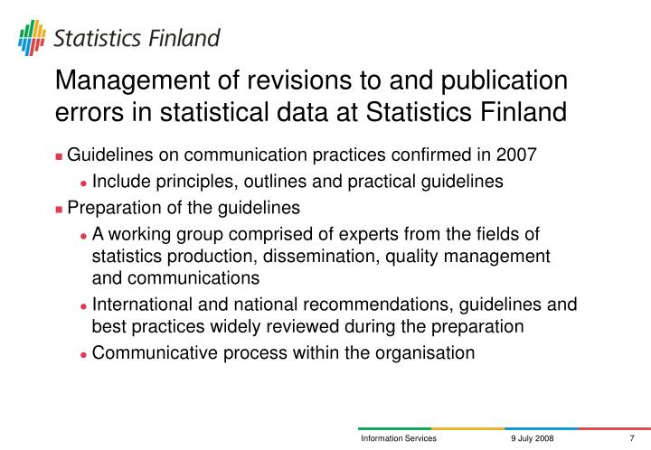 Management of revisions to and publication errors in statistical data at Statistics Finland