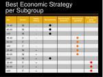 best economic strategy per subgroup