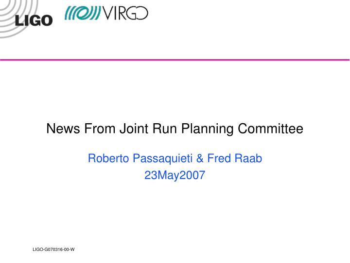 news from joint run planning committee n.