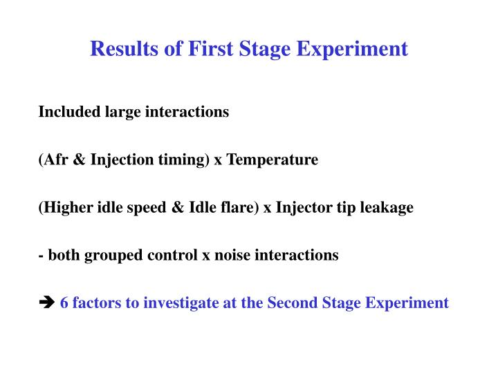 Results of First Stage Experiment
