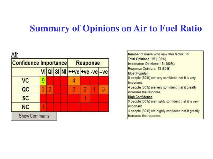Summary of Opinions on Air to Fuel Ratio