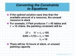converting the constraints to equations1