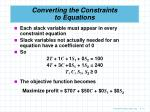 converting the constraints to equations2