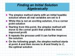finding an initial solution algebraically1