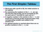the first simplex tableau10