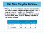 the first simplex tableau9