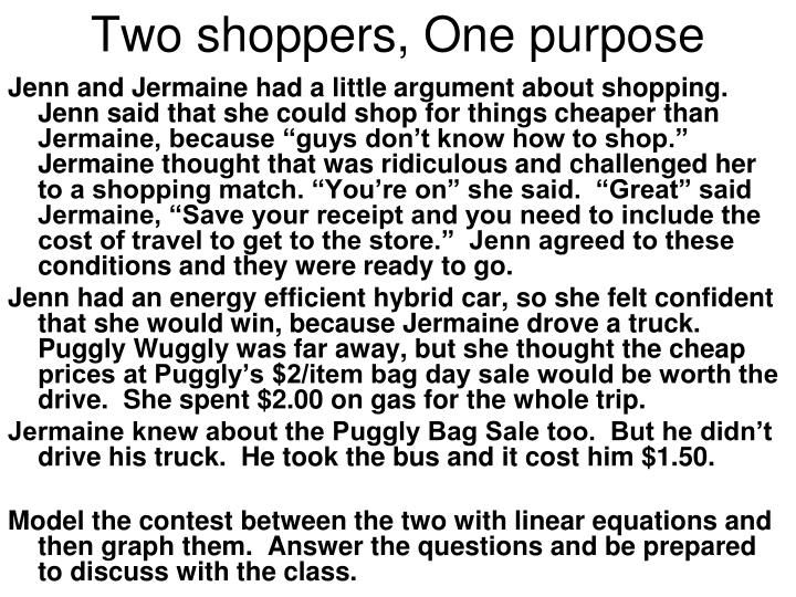 two shoppers one purpose n.
