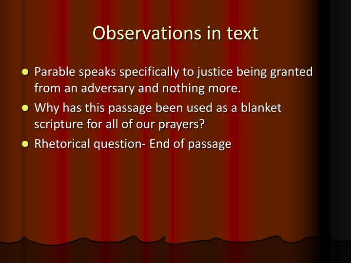 Observations in text