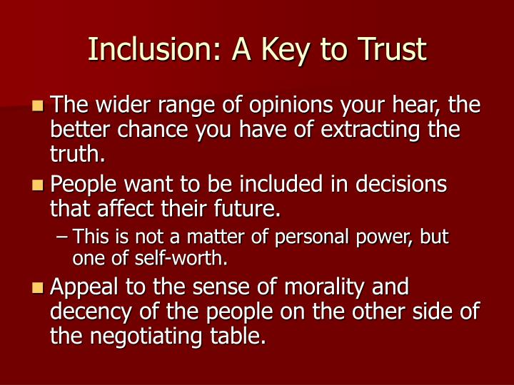 Inclusion: A Key to Trust