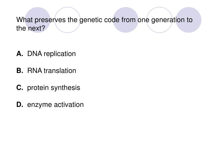 What preserves the genetic code from one generation to the next?