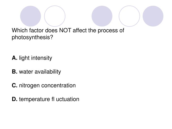 Which factor does NOT affect the process of  photosynthesis?